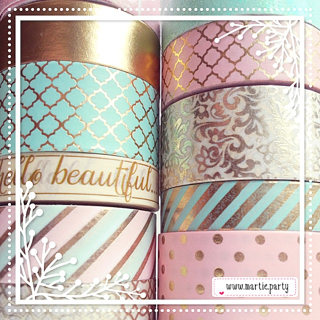 Gold, pink, and mint washi.