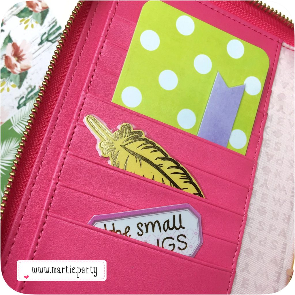 Interior pockets of a Kate Spade Wellesley planner..